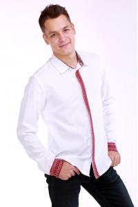 Мужская вышиванка «Думка» с красным орнаментом