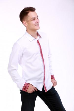 Чоловіча вишиванка «Думка» з червоним орнаментом