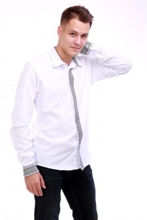 Мужская вышиванка «Думка» с серым орнаментом