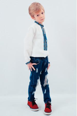 Вышиванка для мальчика «Стиль» с синим орнаментом