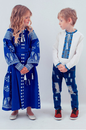 Вишиванка для хлопчика «Стиль» з синім орнаментом