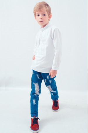 Вишиванка для хлопчика «Елегантна» з білим орнаментом
