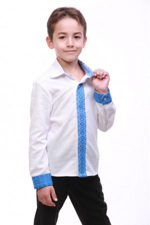 Вишиванка для хлопчика «Думка» з синім орнаментом