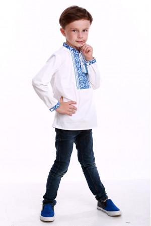 Вишиванка для хлопчика «Щаслива» з синім орнаментом