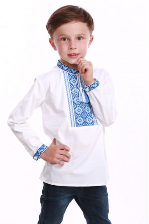 Вышиванка для мальчика «Счастливая» с синим орнаментом