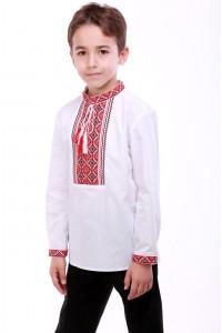 Вышиванка для мальчика «Счастливая» с красным орнаментом