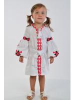 Платье для девочки «Грация» белого цвета с красной вышивкой