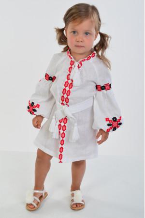 Сукня для дівчинки «Грація» білого кольору з червоною вишивкою