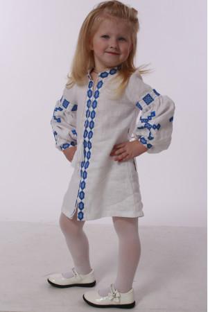 Платье для девочки «Грация» белого цвета с синей вышивкой