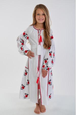 Платье для девочки «Украинская традиция» белого цвета длинное