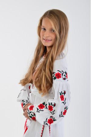 Сукня для дівчинки «Українська традиція»  білого кольору довга