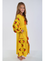 Платье для девочки «Украинская традиция» желтого цвета длинное