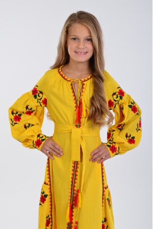 Сукня для дівчинки «Українська традиція» жовтого кольору довга