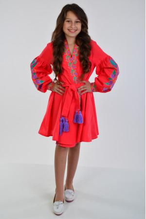 Платье для девочки «Колорит» коралового цвета