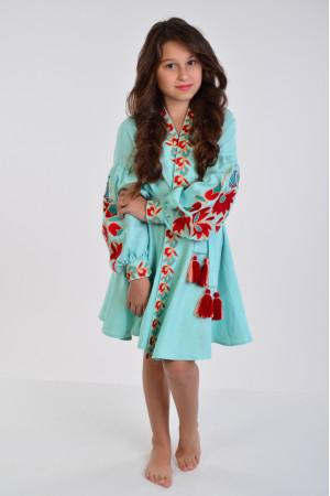 Платье для девочки «Колорит» мятного цвета