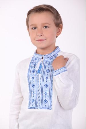 Вишиванка для хлопчика «Елегантна» з синім орнаментом