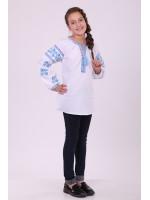 Вышиванка для девочки «Цветочная дорожка» с голубой вышивкой