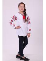 Вышиванка для девочки «Цветочная дорожка» с красной вышивкой