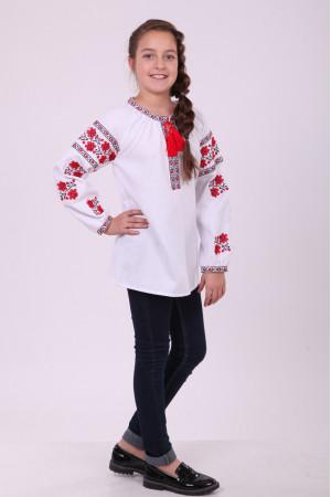 Вишиванка для дівчинки «Квіткова доріжка»  з червоною вишивкою
