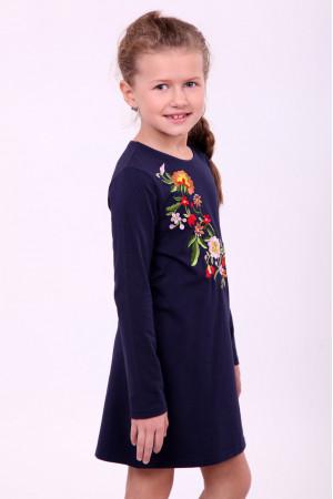 Платье для девочки «Весеннее» темно-синего цвета