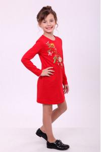 Платье для девочки «Весеннее» красного цвета