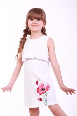 Платье для девочки «Мак полевой» белого цвета