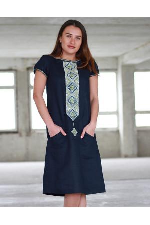 Сукня «Буковель» темно-синього кольору – з вишивкою 720b8b8dc9d05