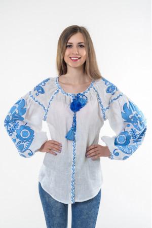 Вышиванка «Бохо» с вышивкой голубого цвета