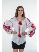Вишиванка «Бохо» з вишивкою червоного кольору