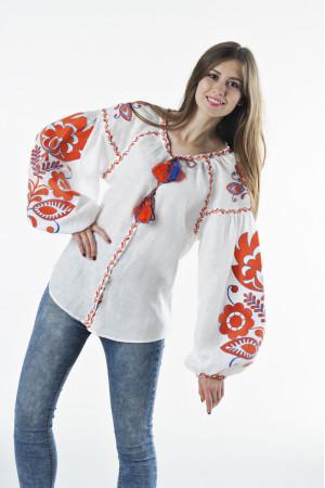 Вышиванка «Бохо» с вышивкой оранжевого цвета