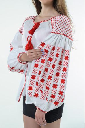 Вишиванка «Зоряна ніч» з вишивкою червоного кольору