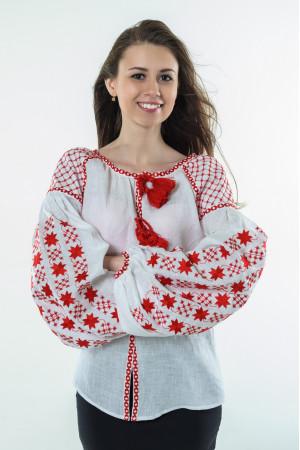Вышиванка «Звездная ночь» с вышивкой красного цвета
