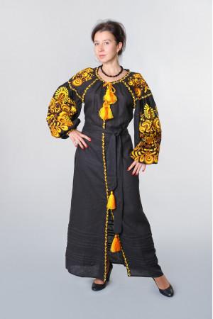 Платье «Дерево жизни» черного цвета с оранжевой вышивкой