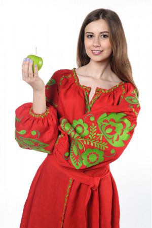 Сукня «Бохо» з вишивкою зеленого кольору