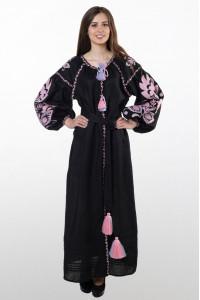 Платье «Бохо» с вышивкой розового цвета