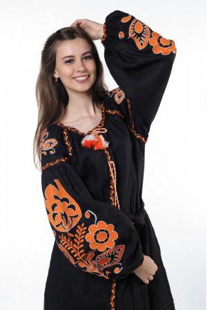 Платье «Бохо» с вышивкой оранжевого цвета