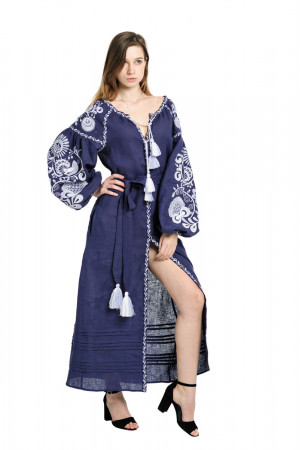 Платье «Дерево жизни» синего цвета