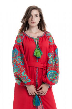 Платье «Дерево жизни» красного цвета