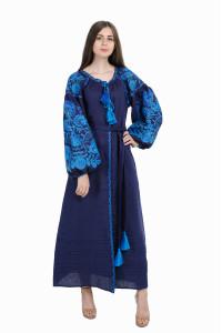 Платье «Дерево жизни» синего цвета, длинное