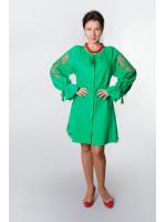 Платье «Чудо-цветок» зеленого цвета, короткое