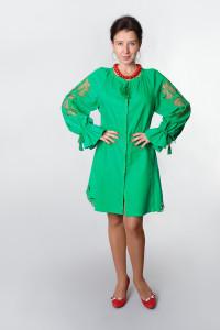 Сукня «Диво-квітка» зеленого кольору, коротка