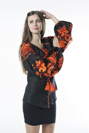 Вишиванка «Птахи» чорного кольору з помаранчевою вишивкою