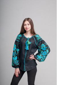 Вышиванка «Птицы» с вышивкой изумрудно-голубого цвета
