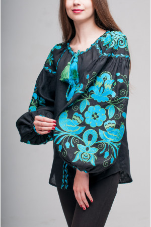 Вишиванка «Птахи» з вишивкою смарагдово-блакитного кольору
