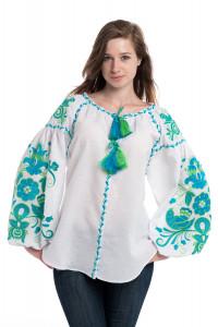 Вышиванка «Птицы» белого цвета с изумрудно-голубой вышивкой
