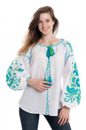 Вишиванка «Птахи» білого кольору із смарагдово-блакитною вишивкою
