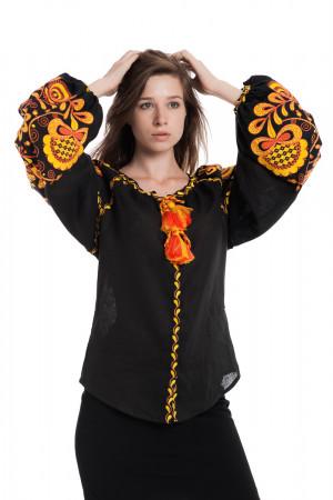 Вышиванка «Дерево жизни» черного цвета с оранжевой вышивкой