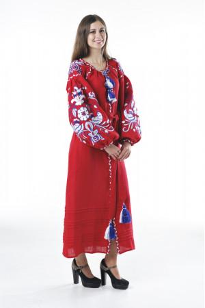 Платье «Птицы» красного цвета
