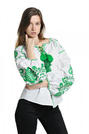 Вышиванка «Дерево жизни» с вышивкой зеленого цвета