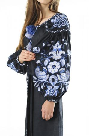 Платье «Птицы» темно-синего цвета